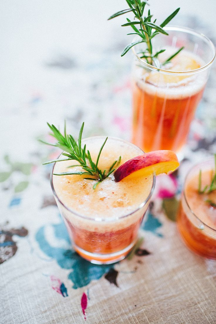 + 5 peaches, pitted + 2 T lime juice + 1 can lemon-lime soda + rosemary simple syrup (1/2 cup sugar, 1/2 cup water, 1 large rosemary sprig) + rosemary sprigs for garnish + 2 cups ice