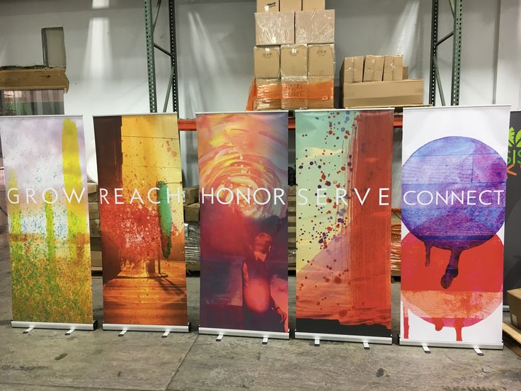 Colorful backgrounds with minimal text creates eye-catching economy stand up banners for Saddleback Church (Riverside, CA)