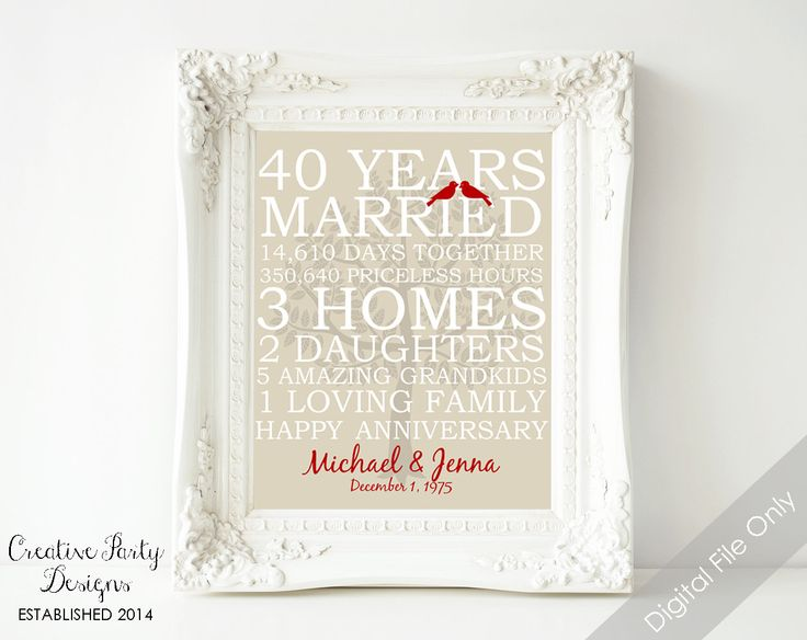 40 Wedding Anniversary Gift For Husband : ... gift for husband or wife wedding printable parents anniversary wedding