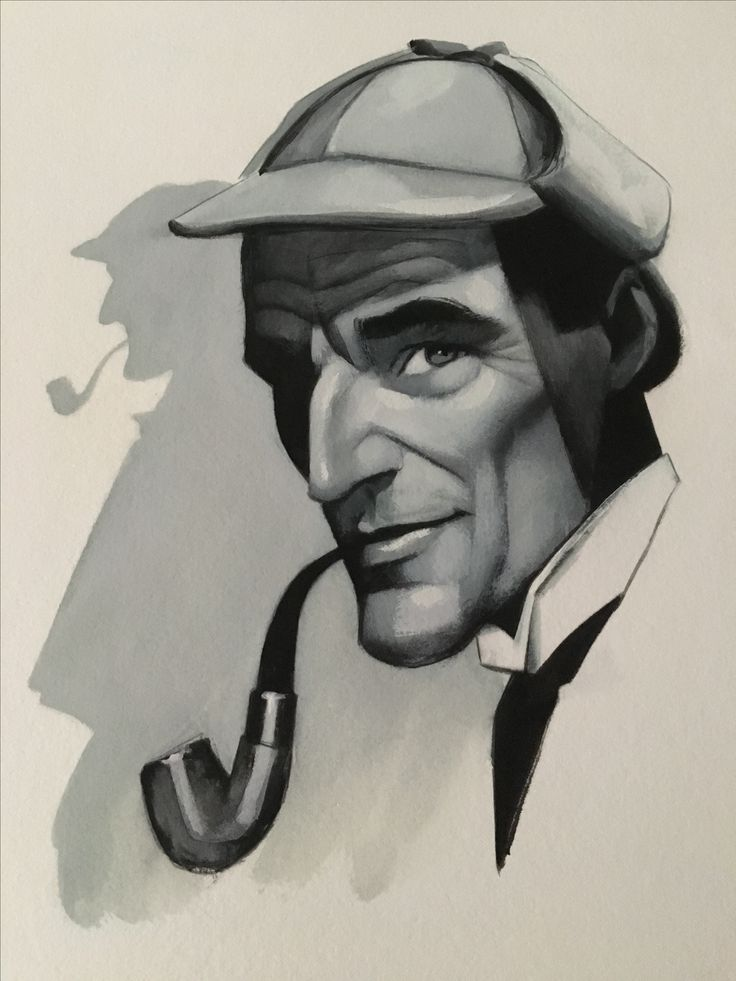 portrait of Sherlock Holmes by Fernando Vicente (Spanish painter and illustrator, born 1963). – Arthur Conan Doyle: A Study in Scarlet. – Sir Arthur Ignatius Conan Doyle KStJ, DL (1859-1930) was a British writer best known for his detective fiction featuring the character Sherlock Holmes. Originally a physician, in 1887 he published A Study in Scarlet, the first of four novels about Holmes and Dr. Watson. In addition, Doyle wrote over fifty short stories featuring the famous detective.