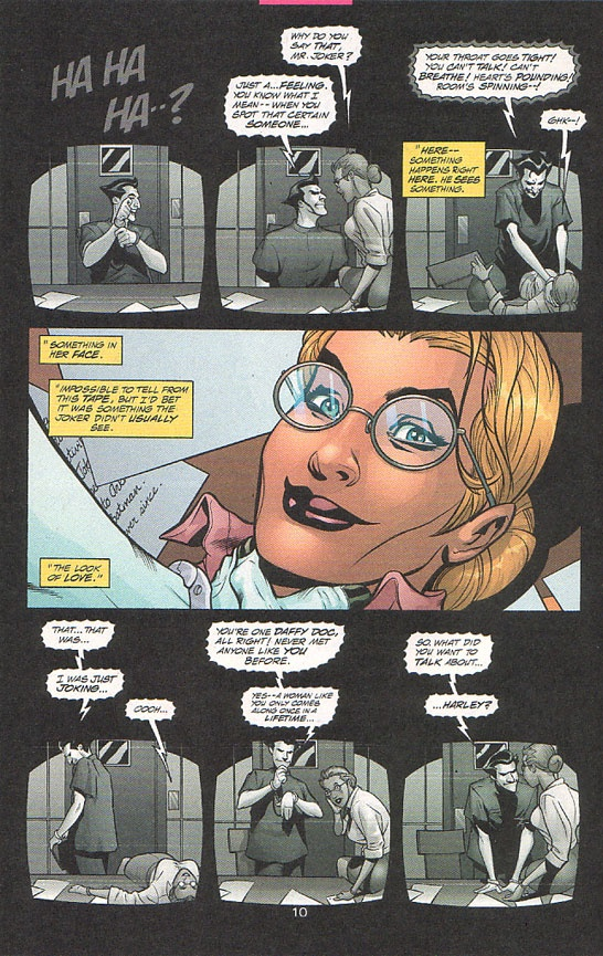 """""""So, what did you want to talk about, Harley?"""" OMG This is it!! Harleen Quinzel becomes Harley Quinn. I need this comic. """"MAD LOVE"""""""