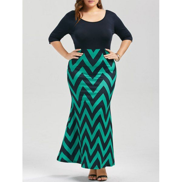 Plus Size Chevron Bowknot Decorated Mermaid Dress - Black And Green Xl Mobile