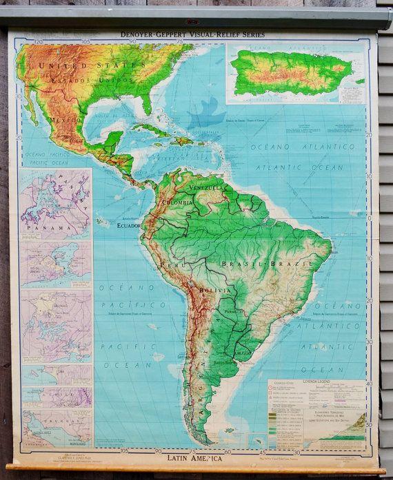 Latin America Map Denoyer Geppert Visual by RelicsAndRhinestones