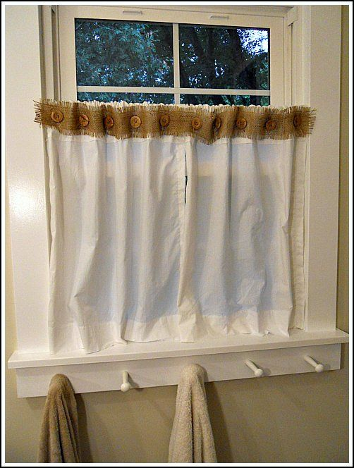 quick, homemade curtains :) and great towel holder idea, too.
