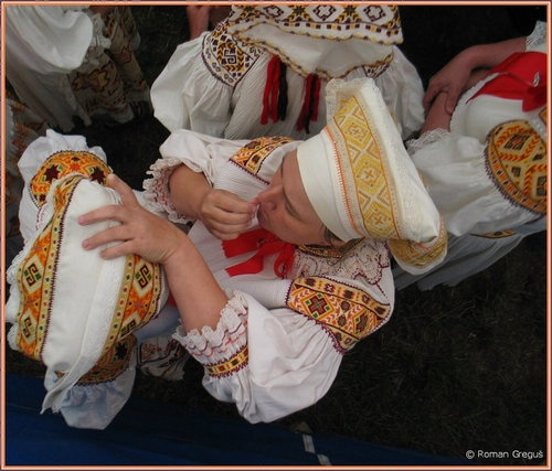 Slovak women in traditional dress