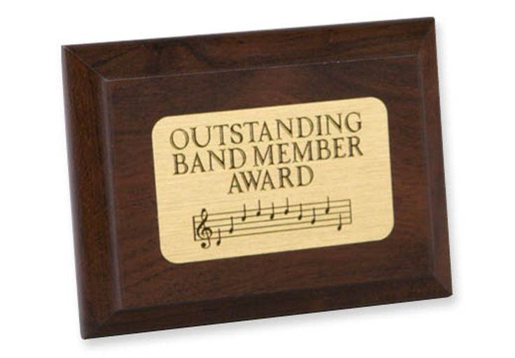 "OUTSTANDING BAND PLAQUE - Wooden achievement plaque, with brass-finish mylar plate (not for engraving). 4"" x 3""."