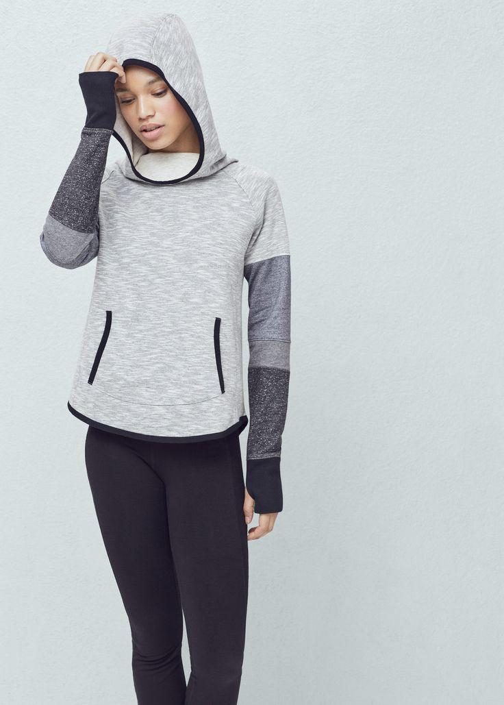 Yoga - sudadera canguro capucha training -  Mujer | MANGO