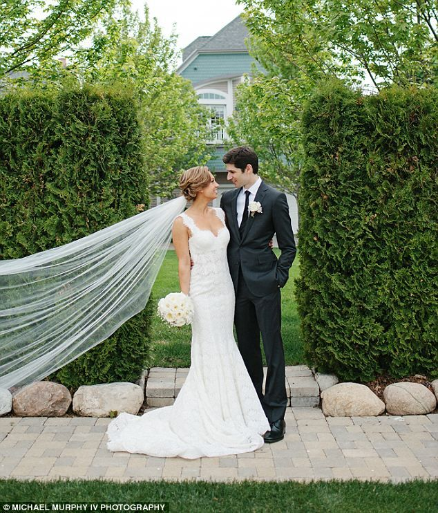 Good Morning America meteorologist Ginger Zee, 33, married Ben Aaron, 32, on June 7, 2014 at the Inn at Bay Harbor in Petoskey, Michigan. Ginger visited Lake Michigan every summer growing up http://dailym.ai/1oDtXCu