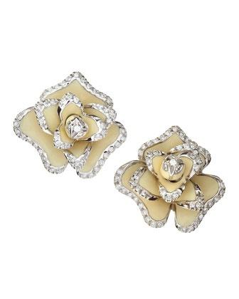 Roberto Coin Diamond Flower Enamel Earrings