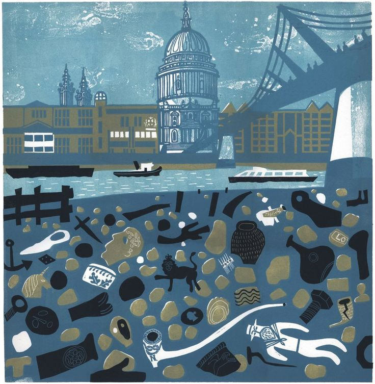 """""""View of St Paul's from the Thames Foreshore"""" a linocut by Melvyn Evans"""