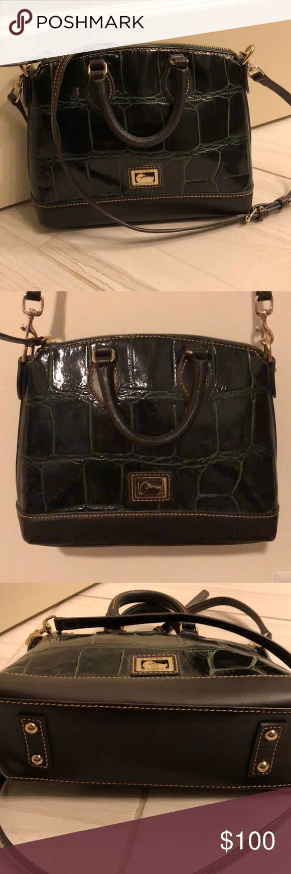 Dooney & Bourke leather crossbody purse Like new (work once) Dooney & Bourke dark olive green alligator pattern leather crossbody satchel purse. Excellent condition! Crossbody strap is adjustable and removable. Inside perfectly clean with key strap, zip pocket, snap pocket (manufacturer sticker still on in one pocket - it's that like new!) Dooney & Bourke Bags Crossbody Bags