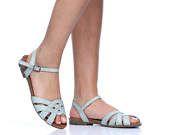 Mint Venetië lederen sandalen, handgemaakte lederen sandalen, Women's Leather Flats, Strappy sandalen, zomer schoenen