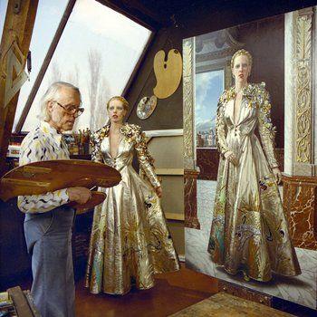 Kunstschilder Carel Willink schildert portret van zijn echtgenote Mathilde, Amsterdam 1975