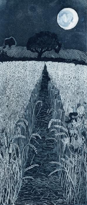"Moonshine ~ artist Janis Goodman. Etching, 4.72"" x 11"" #art"
