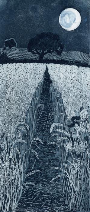 """Moonshine ~ artist Janis Goodman. Etching, 4.72"""" x 11"""" #art"""