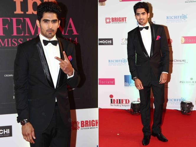 Boxing champ, Vijender Singh looks dashing in Anita Dongre Menswear, at the Femina Miss India 2014 event. #Tuxedo #FormalMenswear  To buy online - http://shop.anitadongre.com/man/suits/tuxedo-2-pc-suit-1253.html