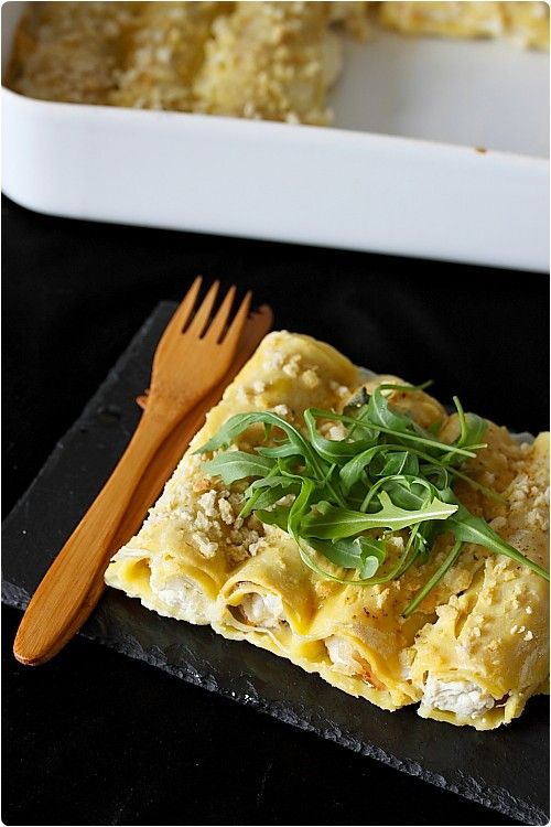 Cannelloni au chèvre frais, noisettes et jambon de Parme