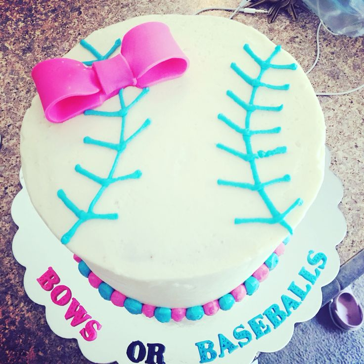Gender Reveal Cake Baseball and Bows
