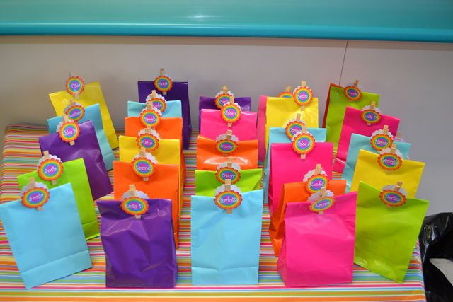 rainbow party bag favors. Closed with a close pin. Too cute!!!