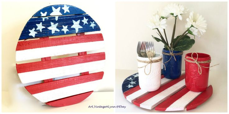 Wood flag painted on round palette wood in red, white, blue US flag theme at #Art_Vintage4Lynn #Ebay to buy click image #MemorialDay #SummerHoliday #IndependenceDay #July4th #Patriotic #Americana #CountryDecor #USflag #Military #MilitaryPride #RusticDecor #WoodWallFlag #MemorialDayDecor #CountryDecor #USflagCenterpiece #PicnicTableCenterpiece #RedWhiteBlue #OldGlory #WoodenFlag #AmericanFlag