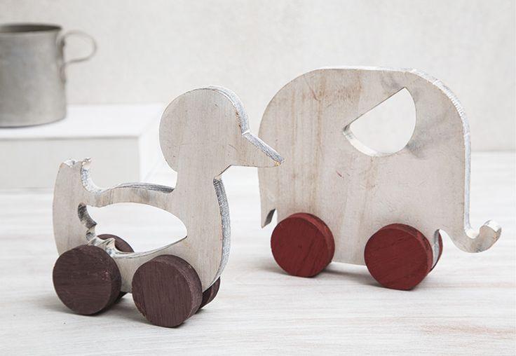 Ξύλινο παπάκι και ελεφαντάκι