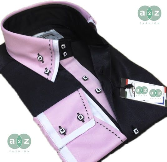 New Men's Formal, Smart, Black and Pink, with White Double Collar Casual Italian Design Slim Fit Shirt, with Contrast Pink with White Stripes - with a Striking Black Stitching on Collar / Cuffs