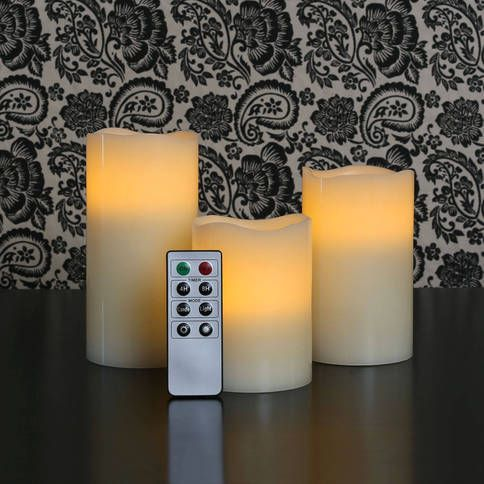 Lights.com | Flameless Candles | Pillar Candles | Ivory Wax Melted Edge Flameless Candles with Remote, Set of 3