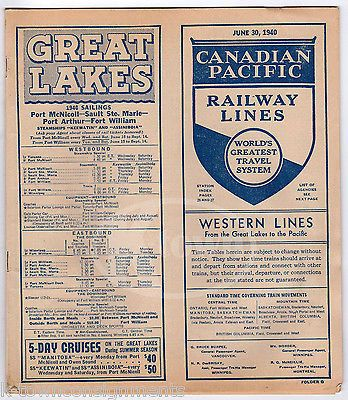 CANADIAN PACIFIC RAILWAY WESTERN LINES RAILROAD TIMETABLES MAPS BOOKLET 1940
