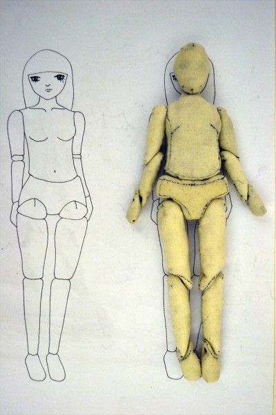 I have done about a hundred prototypes in total to get the patterns right. I tried to make my doll look like a ball-jointed doll with movable joints so it is made out of 15 parts. I paid attention to the curves of the body and tried many combinations of how to attach each section together and where the seams are.