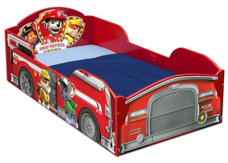 Nick Jr Paw Patrol Toddler Bed With Rails Fire Truck Frame Beds For Boys Red New #DeltaChildren
