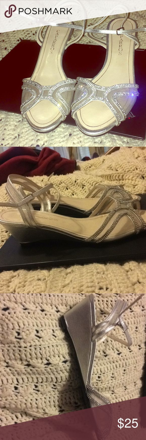 I don't need this beautiful pair of shoes anymore! Beautiful, silver sparkly shoes that I wore just for my senior prom! They are used but still look great and sparkly. Heels are about an inch. Caparros Shoes Wedges #promheelssparkly