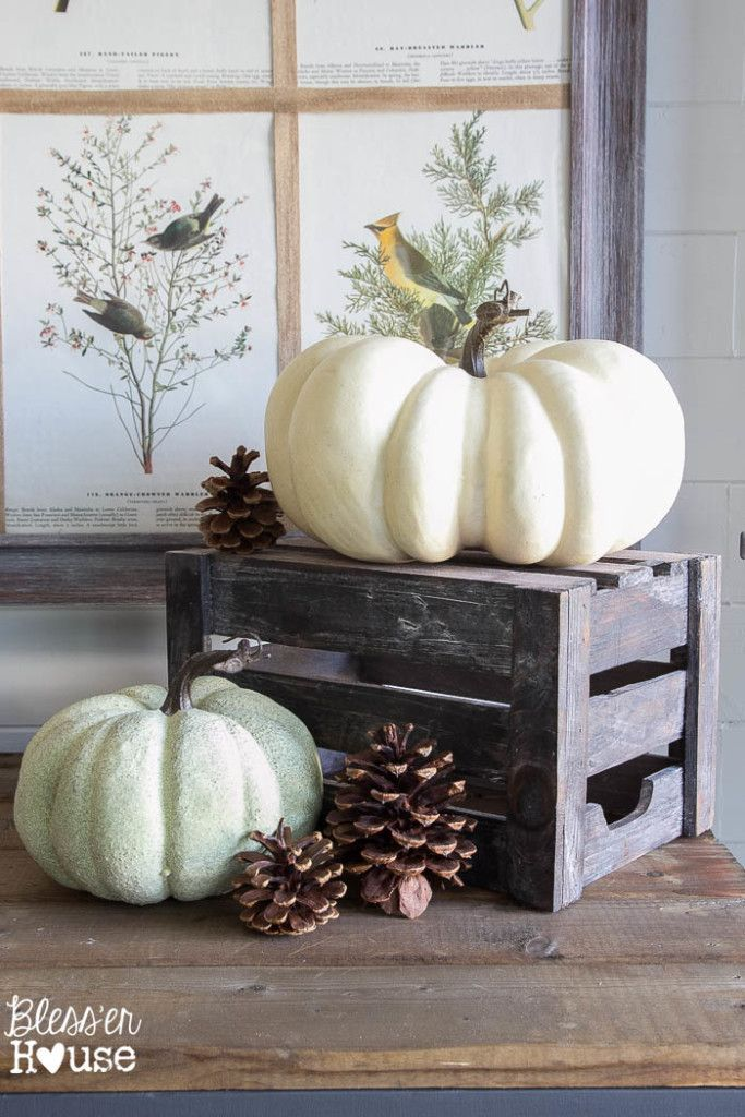 How to Decorate for Fall on a Budget: rustic fall vignette with a wooden crate, white pumpkins and pinecones.