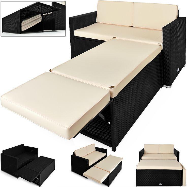 Perfect Polyrattan Set Seater Sofa Ottoman with Storage Space