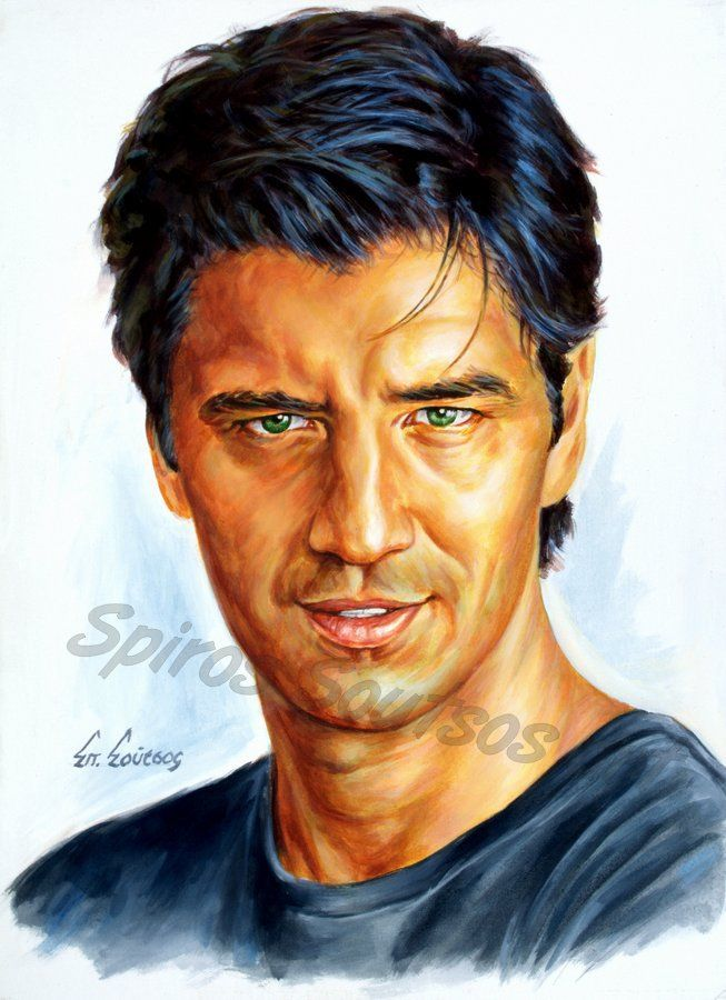 Σάκης Ρουβάς πορτραίτο αφίσα, αυθεντικός πίνακας ζωγραφικής, πόστερ
