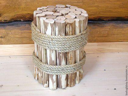 Табурет из стволиков ореха. Артобъект. Деревянный табурет. Мебель из дерева.