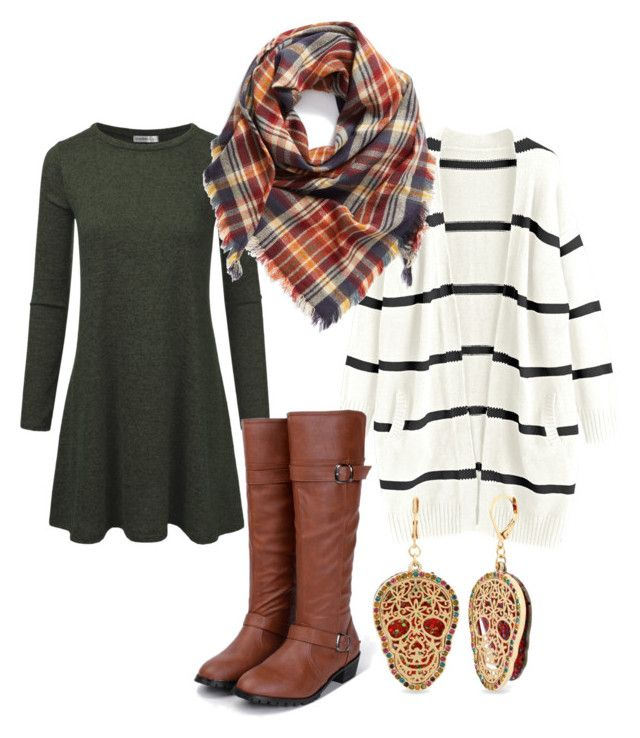 """""""Swing Dress With Striped Cardi"""" by stacey-ryan-fournier on Polyvore featuring Betsey Johnson and BP."""