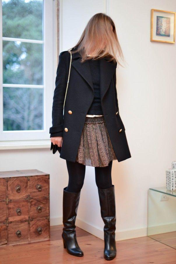 Bottes Ann Tuil Caban Zara Jupe et Pull Isabel Marant Top Roseanna Sac Vavavoom Valentino