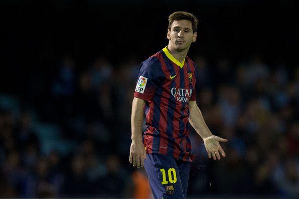 Lionel Messi of FC Barcelona reacts defeated after failing to score during the La Liga match between RC Celta de Vigo and FC Barcelona at Estadio Balaidos on October 29, 2013 in Vigo, Spain.