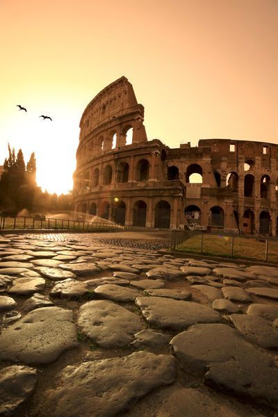 Colosseum and Via Sacra, sunrise, Rome, Italy ~been there, they could flood it for sea battles to entertain the mob..of ancient Rome. friends of archaeologists, beware! :) hehe~