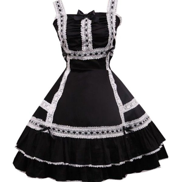 Partiss Women's Cotton Black Lace Classic Lolita Dress ($60) ❤ liked on Polyvore featuring dresses, lacy dress, cotton day dresses, lace dress, cotton lace dress and cotton dress