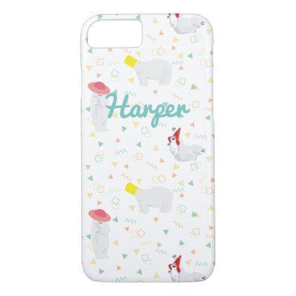 Polar Bears '80s White iPhone 8/7 Case - pattern sample design template diy cyo customize