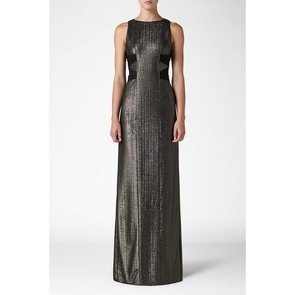 Galvan Metallic Criss Cross Dress ($1,495) ❤ liked on Polyvore featuring dresses, gowns, gown, metallic, long evening gowns, metallic long dress, jersey dress, white ball gowns and white gown