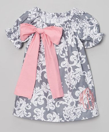 Loving this Gray Damask Bow Monogram Dress - Infant, Toddler & Girls on #zulily! #zulilyfinds