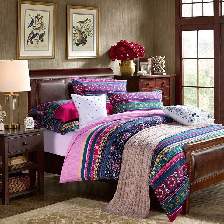 ==> [Free Shipping] Buy Best Modern Colorful Boho Bedding Fashion Adult Bedding Set Sexy Luxury Disigner Bedding Sets King Size Duvet Covers 4Pcs Online with LOWEST Price | 32630164306