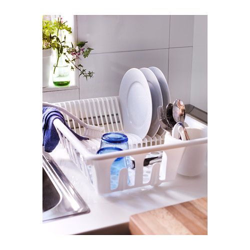 """FLUNDRA Dish drainer IKEA Nine glass holders on the outside of the dish drainer. Holds large plates with a dia. up to 13"""" as well."""