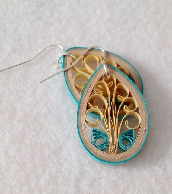 Tan and teal paper quilling earrings