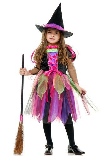 Child Rainbow Glitter Witch Costume