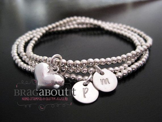 Hand Stamped Jewelry - Personalized Initial Bracelets - Sterling Silver Beaded Bracelet - Set Of Three - Forever Love