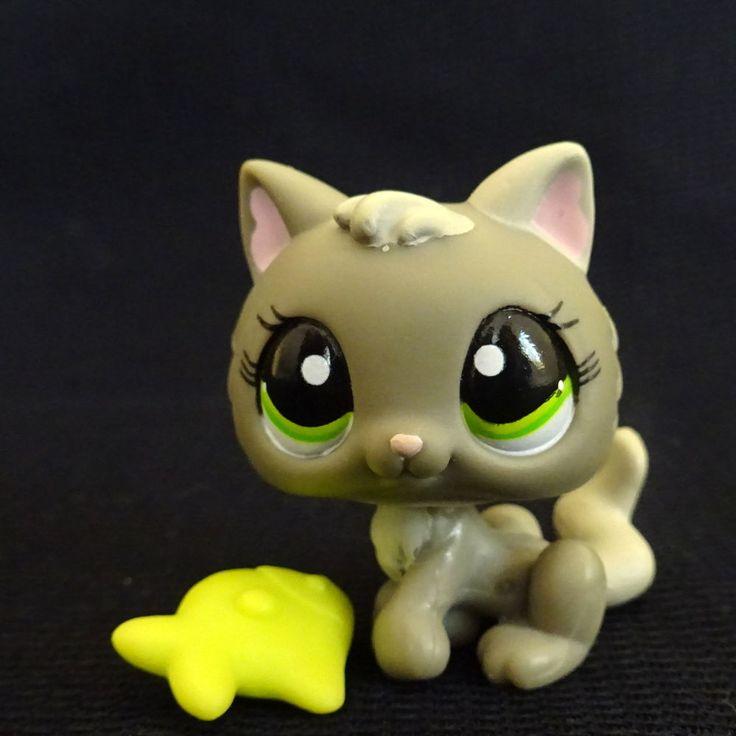 Littlest Pet Shop 1035 Sitting Grey Kitten Cat LPS Toy HASBRO 2005 Bobblehead