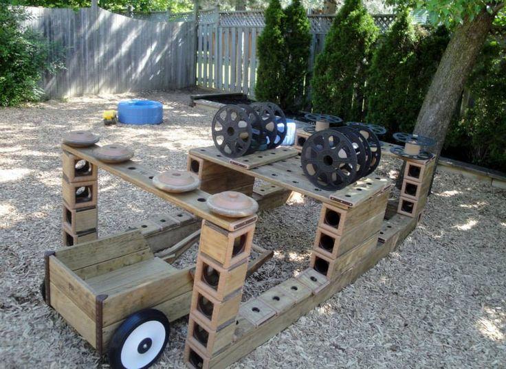 Outdoor blocks and loose materials- Reggio Kids Childcare Centres ≈≈